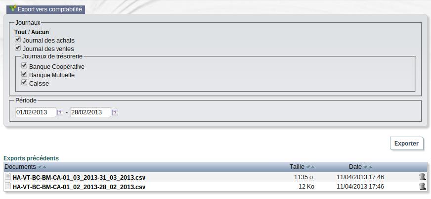 capture module export vers comptabilité