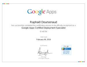 Certificat Expert Déploiement Google Apps Raphaël Doursenaud